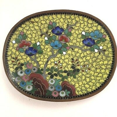 """Antique Vintage Chinese Small Yellow Floral Cloisonne Pin Dish 3.75"""""""