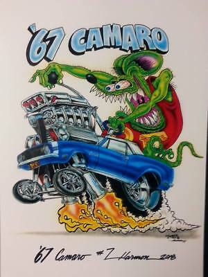 """Ed Roth Rat Fink '67 Camaro 11""""x17"""" Print signed and numbered"""