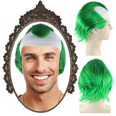 White Head Bald Cap With Hair Circus Evil Clown Men Cosplay Costume Wig HM-636