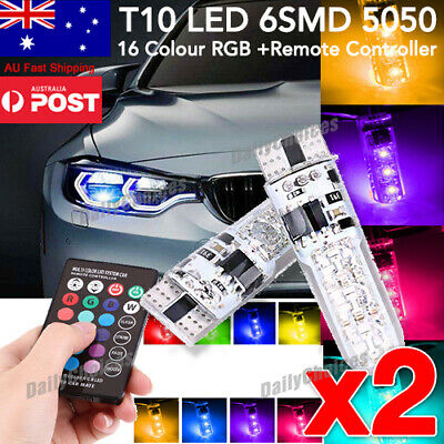 T10 W5W 5050 2x 6SMD RGB LED Remote Control Multi Color Light Car Wedge Bulb AU