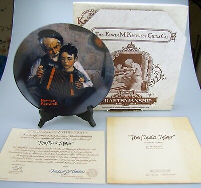 Vintage 1981 MUSIC MAKER Norman Rockwell China Plate Knowles Certificate Box