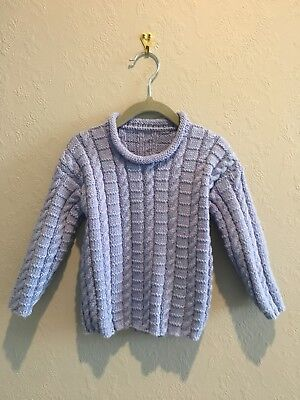 Pure Wool Boys Jumper Blue Cable Handknitted Size 2