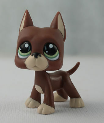 Littlest pet shop LPS Brown Great Dane Dog with Green Eyes