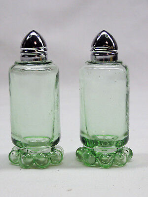 Depression Style Glass Candlewick Salt & Pepper Shaker Set - Green