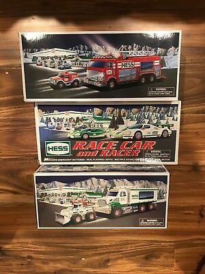 Lot of 3 Hess Trucks - Emergency Truck, Truck and Frontloader, Racecars
