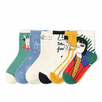 Fashion Painting Art Novelty Ankle Hosiery Vintage Retro Cotton Socks Funny Art