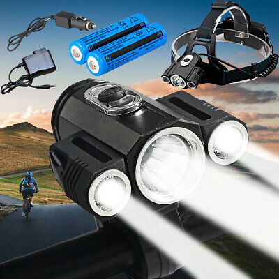 Power 50000LM 3x T6 LED Bicycle Bike Front Light Headlamp Headlight Head Torch