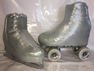 Silver on Grey Fog Boot Covers for RollerSkates and Ice Skates  SMALL, MEDIUM