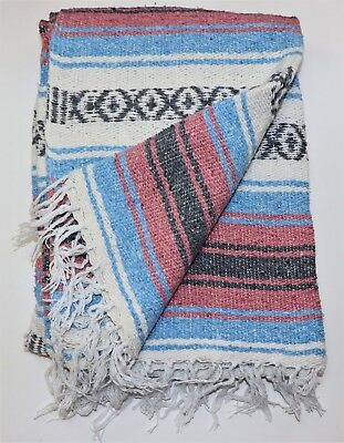 "Mexican Falsa Blanket Pink Blue Grey Hand Woven Yoga Mat Blanket 74"" x 50"""