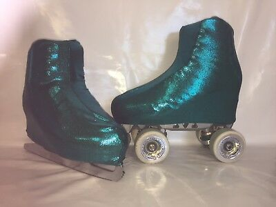 Dark Teal Fog Boot Covers for RollerSkates and Ice Skates SMALL, MEDIUM