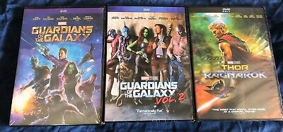 Thor: Ragnarok + Guardians of the Galaxy Vol. 1 & 2 DVD Bundle Marvel Movies New