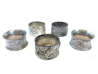 Bundle Of Silver Plate Chinese Dragon Themed Napkin Rings X5 Mixed Job Lot
