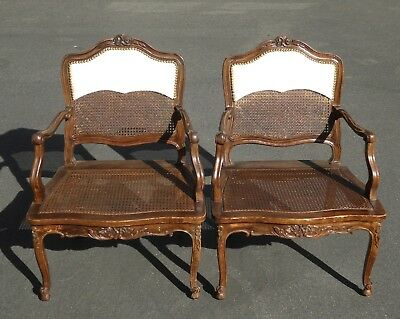Pair Vintage French Provincial Country Style Carved Wood & Cane Accent Chairs