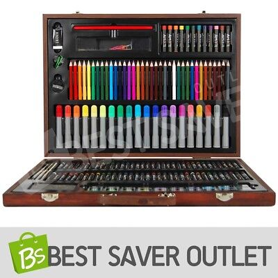 167 Piece Wooden Art Box Set Pastel Water Crayon Colouring Painting Drawing