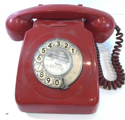 Vintage Gpo 746 Red Dial Rotary Telephone Phone Original Untouched Genuine