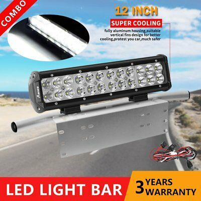 12 inch 240W CREE LED Light Bar + 23'' Chrome Number Plate Frame Mount Bracket