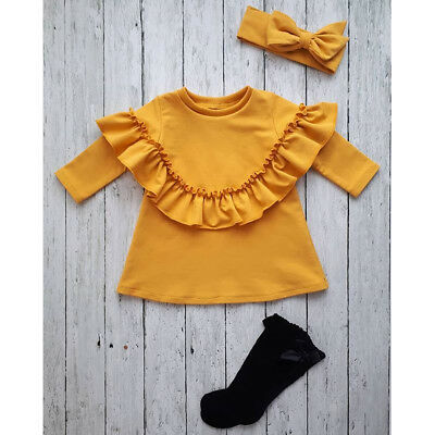 Baby Girl Toddler Long Sleeve T-shirt Outfit Blouse Tops Clothes Autumn Winter