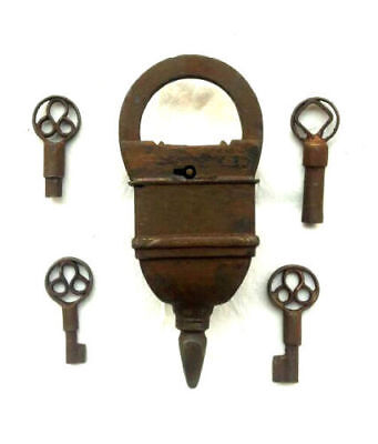 Old Looking 4 Keys Iron Tricky / Puzzle Pad Lock, Collectible, Rich Patina 007