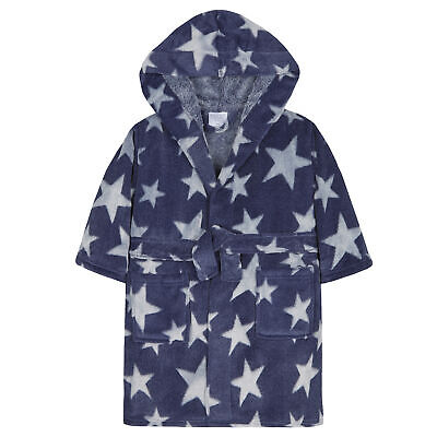 Boys Star Print Dressing Gown Robe Soft Plush Fleece Hooded Fluffy Warm Pockets