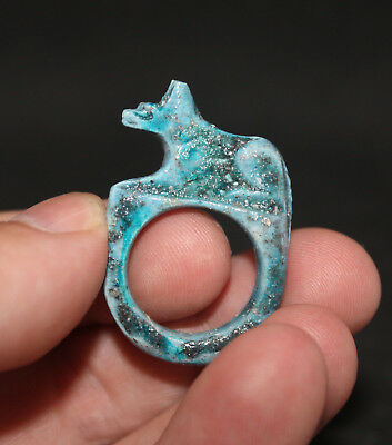 Antique Egyptian Faience Galss glazed stone ring Anubis