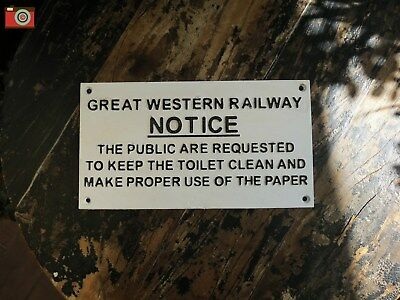 GREAT WESTERN RAILWAY Cast Iron Toilet Sign, Vintage Antique Style. White/Black