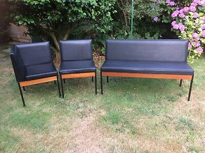 1970`s? Kandya Seating Set, Booth, Diner, Black Vinyl, Mid-century chairs, bench