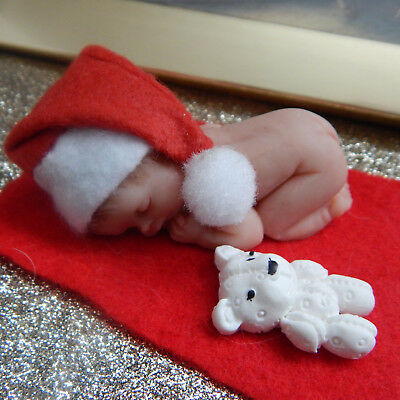 """SANTA BABY 2.5"""" with HAT, TEDDY and BLANKET ~  POLYMER CLAY ~ GIFT BOXED"""