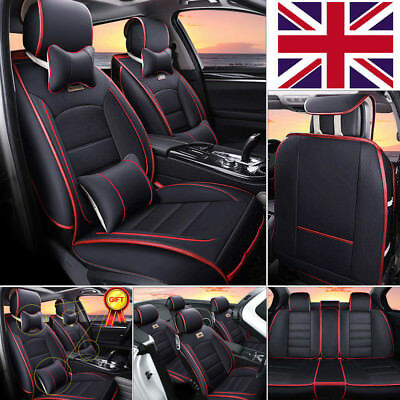 UK 5-Seats Car Seat Cover SUV Front+Rear Cushion Deluxe PU leather W/4pc Pillows