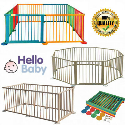 6/8 Panel Sided Foldable Wooden Playpen Divider Play Yard Room Fence For Baby