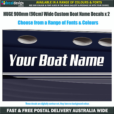 Custom Boat Name Decal set x2 900mm long decals, premium quality vinyl.