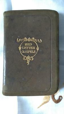 """RED LETTER GOSPELS Collins Clear Type Suede/Leather bound 1908 ( 2.75""""x4.25"""")"""