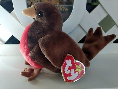 TY Beanie Baby ~ EARLY Robin Bird ~ NWT Retired with Tag Error with PE Pellets