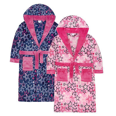 Girls Star Print Dressing Gown Robe Plush Fleece Snuggle Soft Fluffy Warm Hooded