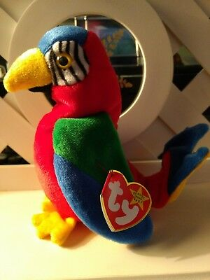 TY Beanie Baby ~ JABBER Parrot Bird ~ NEW with Tags Retired with PE Pellets