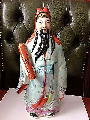Large Vintage Chinese Old Wise Man Porcelain/Ceramic Hand Painted Figurine