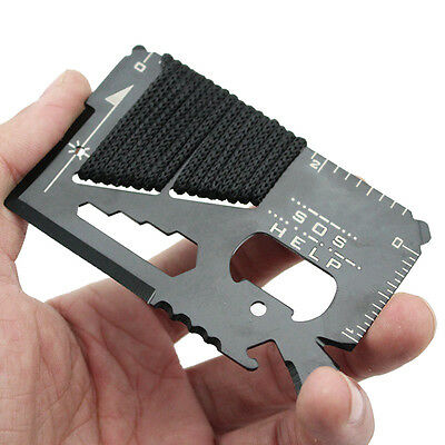 14 in 1 Multi Purpose Pocket Credit Card Survival Knife Outdoor Camping Tool .w/