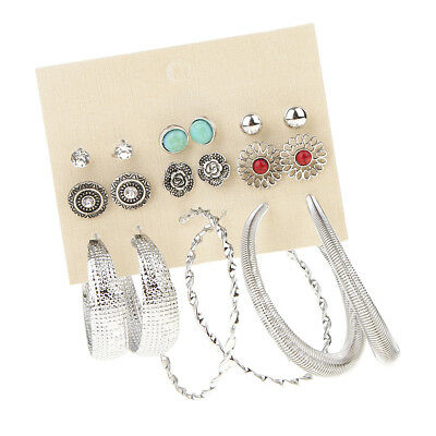9 Pairs Tribe Assorted Multiple Loop Ring Earring Sets Boho Crystal Ear Stud