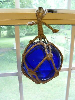 "Vintage Cobalt Blue Glass Buoy Float Rope Nautical Ball 5"" Original"