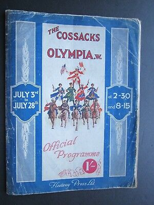 The Cossacks at Olympia. 1925. Programme. 16 Pages Including Photographs.