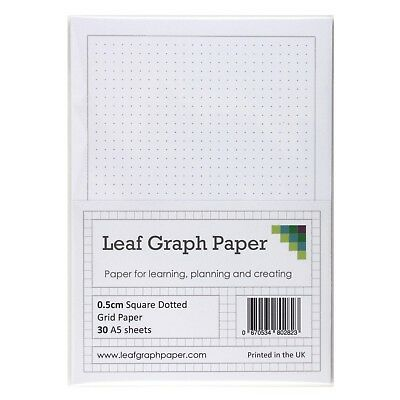 A5 Square Dotted Grid 5mm 0.5cm Graph Paper, 30 Loose-Leaf Sheets, Grey Dots