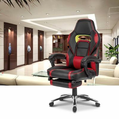 Ergonomic Faux Leather Racing Style Reclining Computer Gaming Chair w/ Footrest