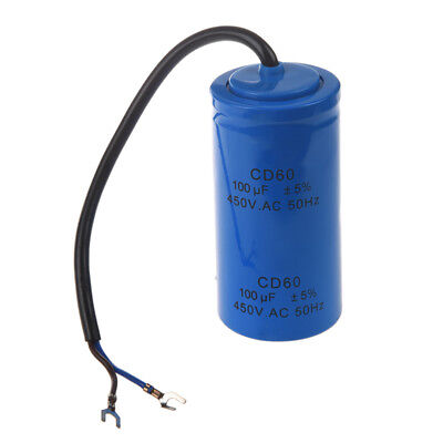 3X(100uF 450V AC CD60 2 Black Wire Lead Motor Start Run Capacitor M2F1