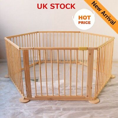 6 Panels Foldable Wooden Baby Playpen Kid Child Play Pen Room Divider Heavy Duty