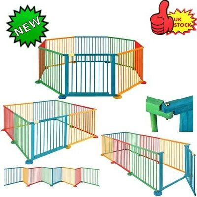 Baby Child Children Wooden Playpen Play Pens Foldable Room Divider Heavy Duty uk