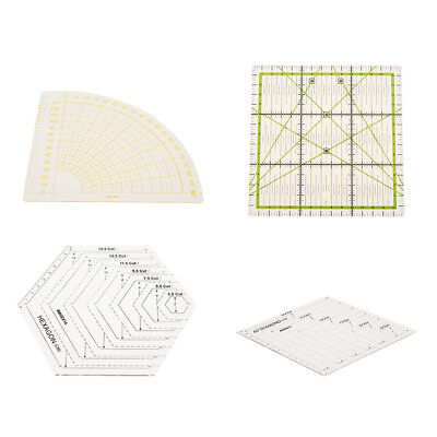 4Pcs Sew Easy Patchwork Quilting Templates / Rulers with Clear Lines 4 Shape