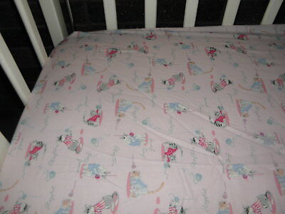 One Fitted Cot Sheet-Pink Cats