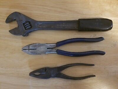 Klein / Utica Tools vintage LOT * 2 pliers combo wire cutter * 1 Crecent wrench