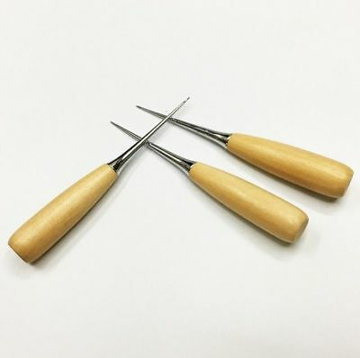 Professional DIY Wood Handle Leather Craft Stitching Sewing Awl Tools