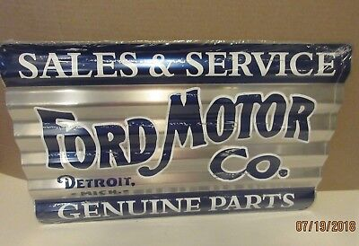 Ford Motor Company Metal Sign Sales Service Parts Vintage Style Gas & Oil Car
