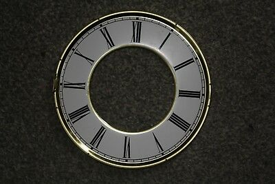 "Vintage Brass Clock Chapter Ring/Dial/Face, 6"" (154mm) White Roman Numerals"
